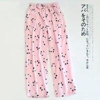 フランネル漫画パンダコーラルベルベット睡眠ボトムス女性薄手のパンツ冬厚みのスパースターパンツ緩い睡眠ズボ