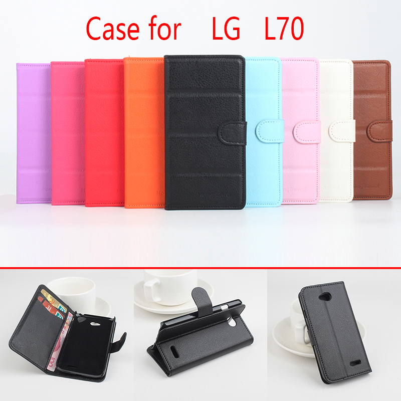 For LG L70 Phone Case Folio Flip Pure Color Lichee Pattern PU Leather Wallet Case Cover Cash/Card Slots sanheng