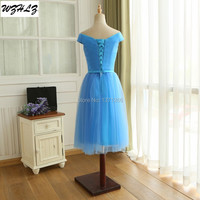 New Real Photo A-Line V-Neck Bridesmaid Dresses With Pleat Sleeveless Knee-Length Lace-Up Back Wedding Party Dresses