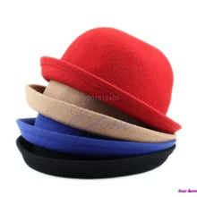 Mode Topi Wanita Fashion Vintage Wol Lucu Trendi Solid Bowler Derby(China)