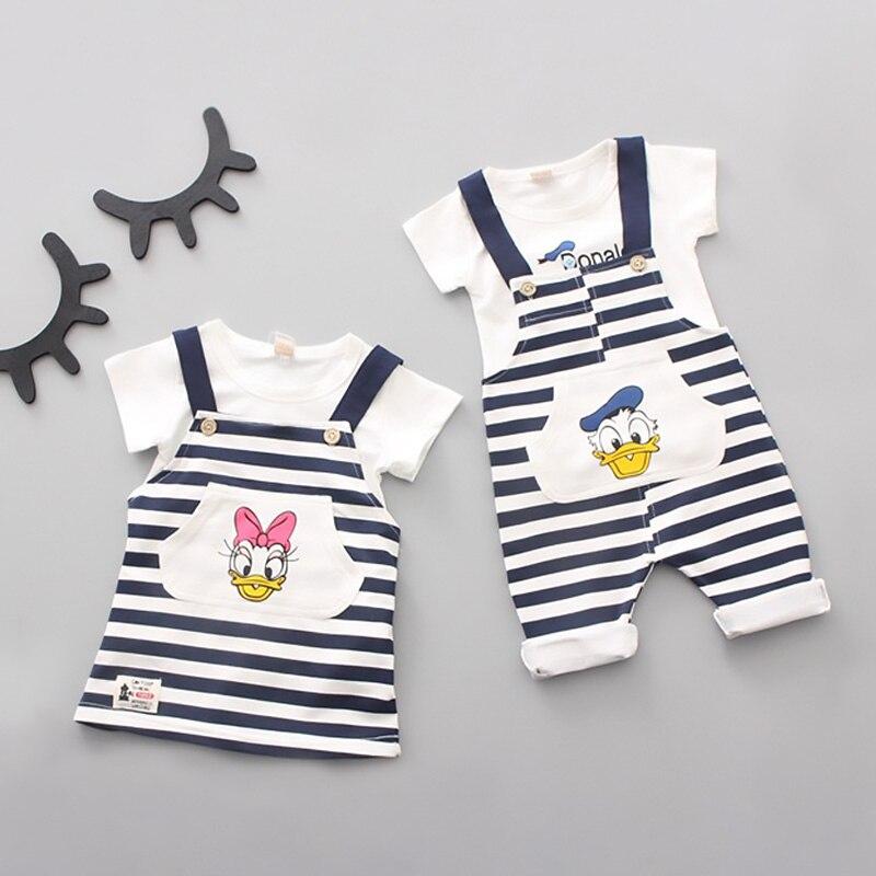 Kleidung Sets PüNktlich 2019 Sommer Baby Kleidung Cartoon T-shirt Donald Duck Hosenträger-hose 2 Pcs Kleinkinder Kurzarm Streifen Casual Sets 0-2years Jungen Kleidung
