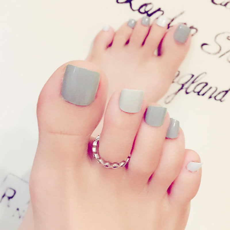 Health Beauty Nail Toe Art: 24 Pcs/Set Summer Women False Fake Toes Nail Solid Color