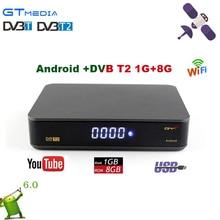 5 pcs New Gtmedia GTT Android 6.0 CAIXA de TV + DVB-T/T2 1080 P HD TV Receptor wi-fi construída KODI pré-instalado youtube Receptor de Satélite
