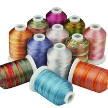 12 разноцветных вышивальных нитей 1000 метров каждая для машинного шитья/ручного шитья, оверлока на любой домашней машине