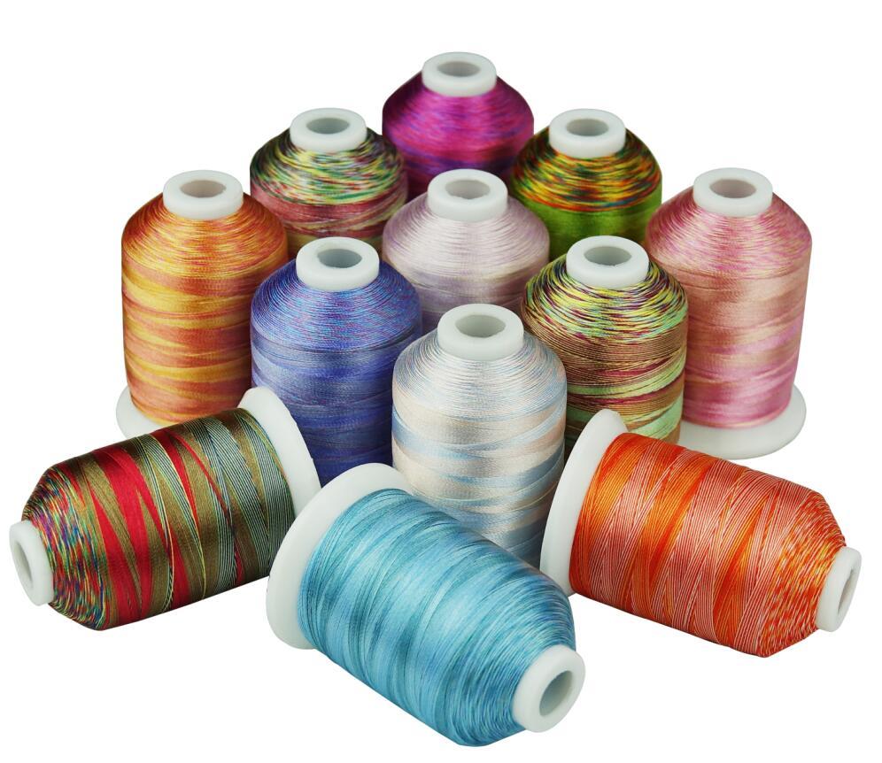 12 خيط تطريز متعدد الألوان 1000 متر لكل ماكينة خياطة يدوية / خياطة اللحف فوق أي ماكينات منزلية