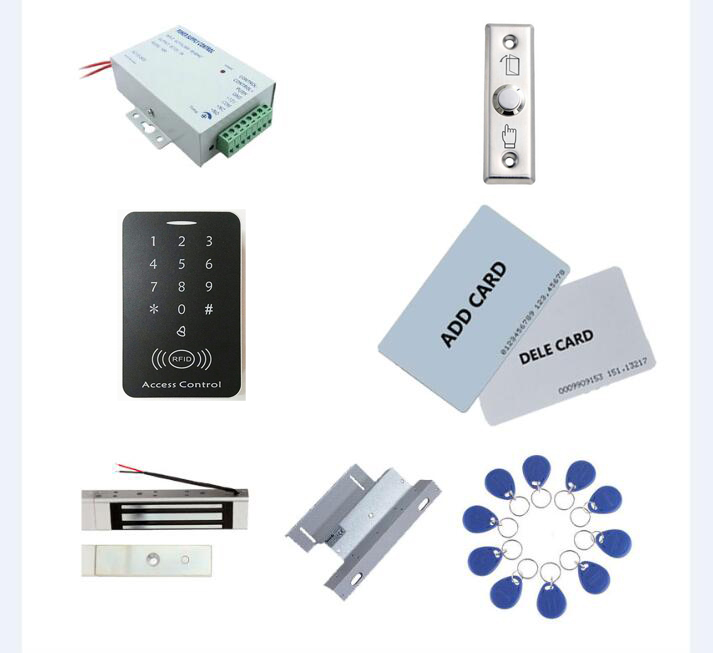 standalone access control kit, power+180kg magnetic lock+180kg ZL-bracket+exit button+2 manage card,10 keyfob ID tags,sn:set-5 access control kit standalone access control power inteligent mute lock exit button 2 manage card 10 keyfob id tags sn set 9