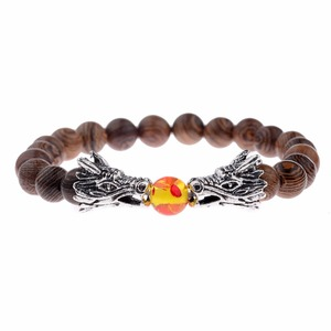 Image 5 - Wood Beads Bracelets Meditation Gold&Silver Color Dragon Beads Bracelet Women Prayer Jewelry Yoga Dropshipping