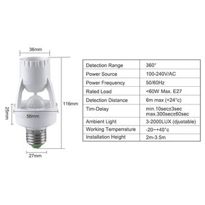 Image 2 - E27 Motion Sensor Light Switch 100 240V Motion Detector E27 Base Lamp Holder With Light Control Smart Switch Bulb Socket Adapter