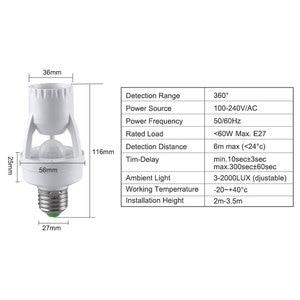 Image 2 - E27 hareket sensörlü ışık anahtarı 100 240V hareket dedektörü E27 taban lamba tutucu ışık kontrolü ile akıllı anahtar ampul soket adaptörü