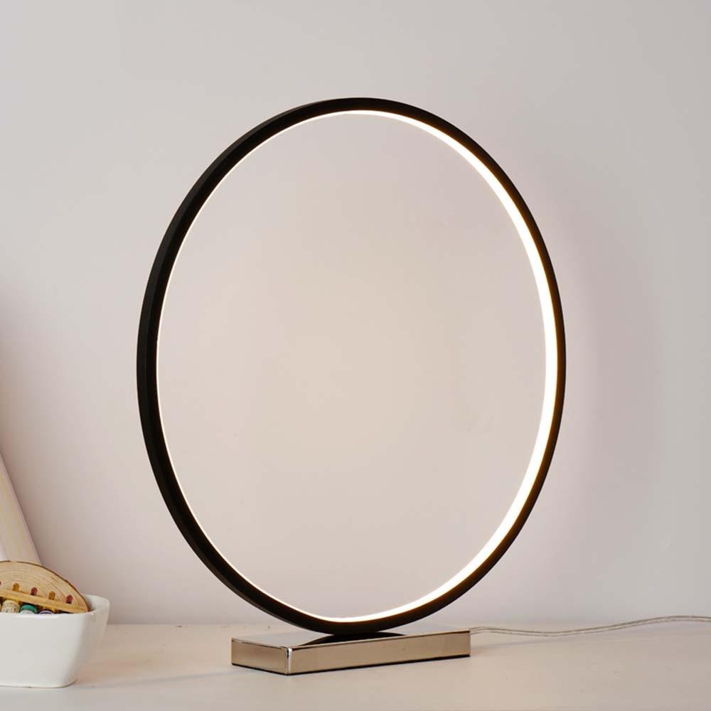 Modern Round LED Desk Lamps for Hotel Bedroom Bedside Light Wedding Art Decor Table Lamp Light Fixtures Dimmable White Gold