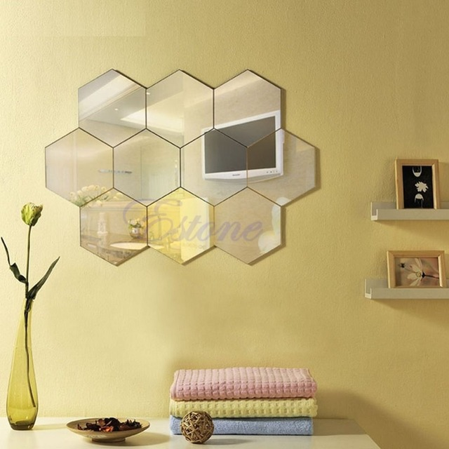 Hexagon mirror style silver removable decal vinyl art wall sticker home decor