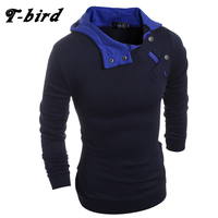 T Bird 2017 New Fashion Hoodies Brand Men Solid Button Sweatshirt Male Hoody Hip Hop Autumn