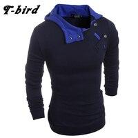 T Bird 2017 New Fashion Hoodies Brand Men Solid Button Sweatshirt Male Hoody Hip Hop Autumn