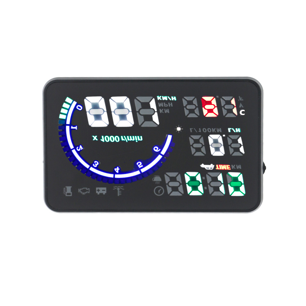 EANOP 5.5X HUD Headup Display Car Speed Projector Dashboard Windshield Projector Head OBD2 fuel Overspeed KM/H,RPM Clock 14