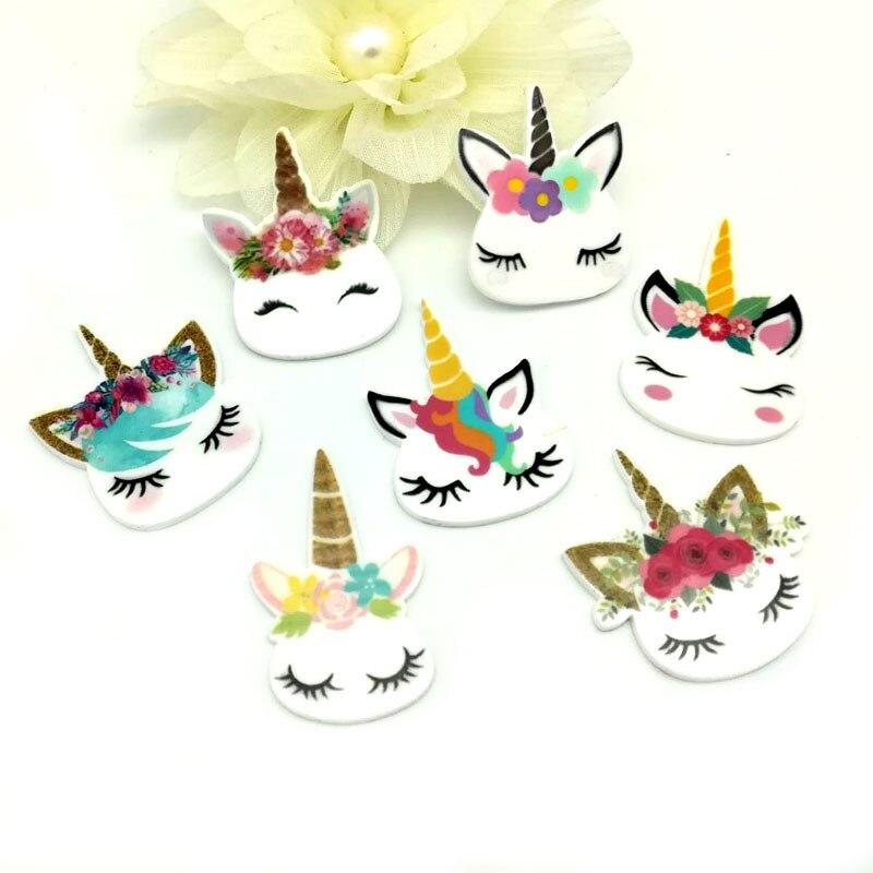 16 Styles Cute Cartoon Unicorn Acrylic Flatback Planar Resin Diy Decoration Crafts Embellishment 50pcs,RET1433