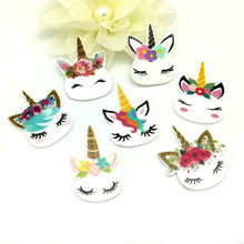 15 styles Cute Cartoon Unicorn Acrylic flatback planar resin diy decoration crafts Embellishment 50pcs/1design,no mixed RET1433(China)