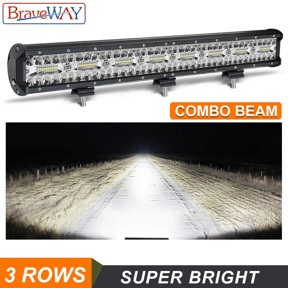 BraveWay 3 Rows LED Work Light Bar for Offroad 4x4 Atv SUV Uaz Boat Combo Beam 12V 24V LED Bar for Jeep for LAND ROVER for Ford