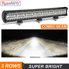 цена на BraveWay 3 Rows LED Work Light Bar for Offroad 4x4 Atv SUV Uaz Boat Combo Beam 12V 24V LED Bar for Jeep for LAND ROVER for Ford