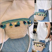 Летние Соломенная Сумка сумки на плечо ротанга небольшой пляж сумка мессенджер сумка через плечо