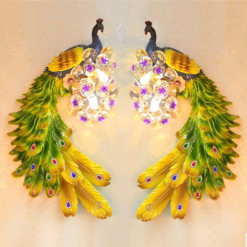 European pastoral peacock Wall lamp living room background wall lamp Hotel Club KTV creative lamps and lanterns bedroom lights