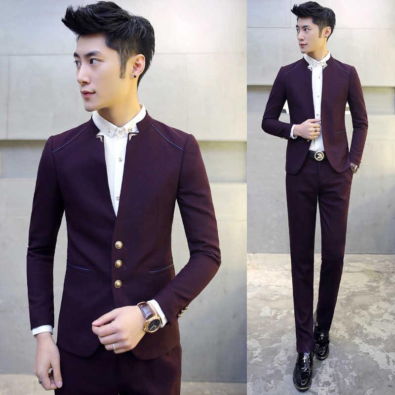 2018 新メンズスーツジャケット + パンツ SM XL 2XL 3XL 紺赤ビジネス結婚式の宴会紳士スリムエレガンススーツセット