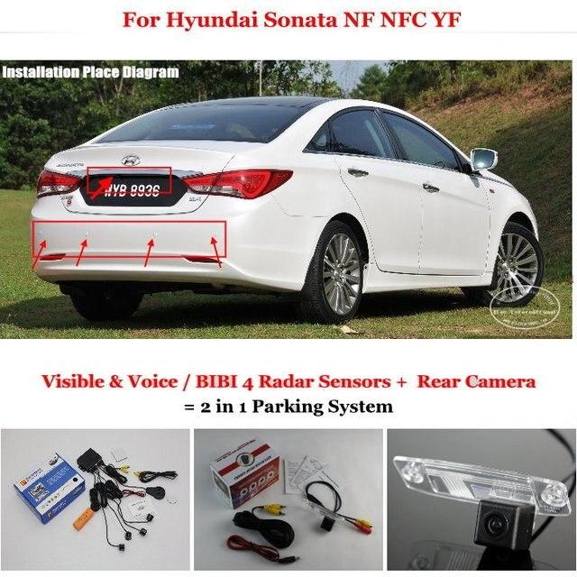 Liislee For Hyundai Sonata Nf Nfc Yf Car Parking Sensors Rear View Back Up Camera 2 In 1 Bibi Alarm System
