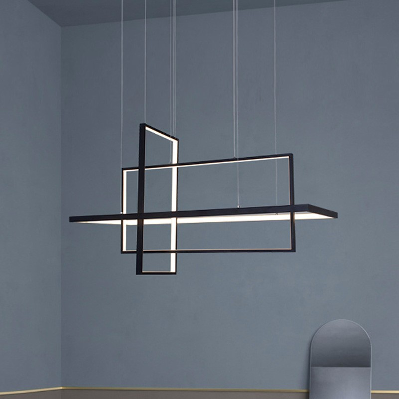 Modern Square LED Pendant Lights For Living Room Black Bedroom Dining Square Hanging Lamp Restaurant Fixtures Luster With Remote