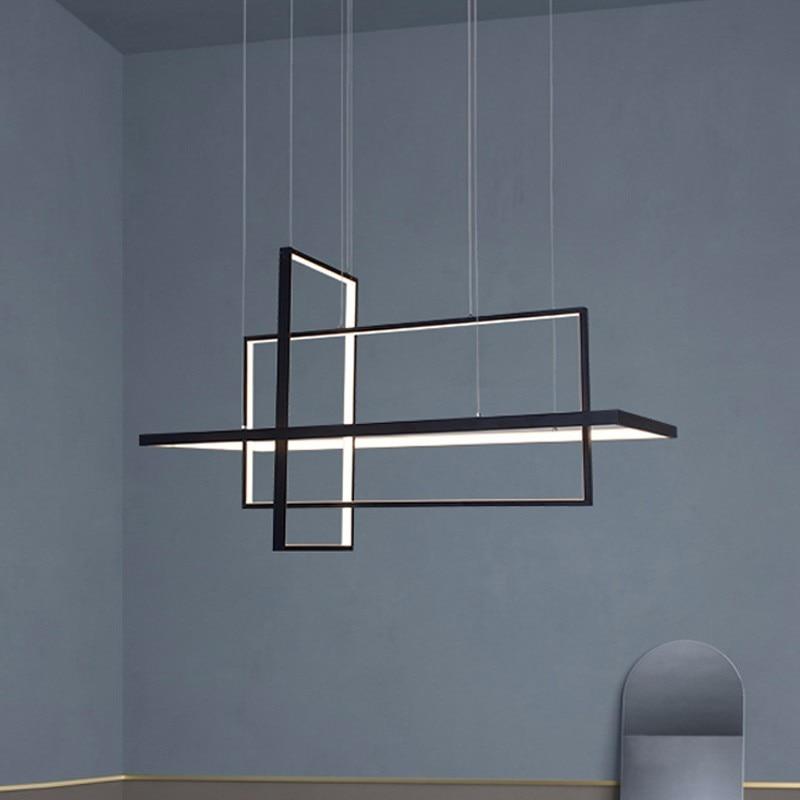 Modern Square LED Pendant Lights For Living Room Black Bedroom Dining Square Hanging Lamp Restaurant Fixtures Luster With Remote