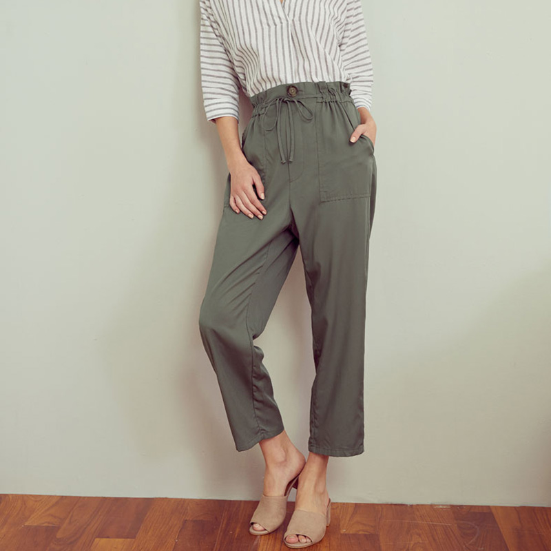 Pantalon été à col étroit ceinture dentelle sac en papier pantalon taille haute pantalon noir pêche beige olive pantalon couleur Pure - 5