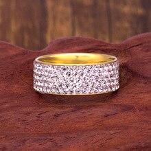 Кольца из нержавеющей стали с 5 рядами кристаллов для женщин 8 мм обручальные кольца модные ювелирные изделия