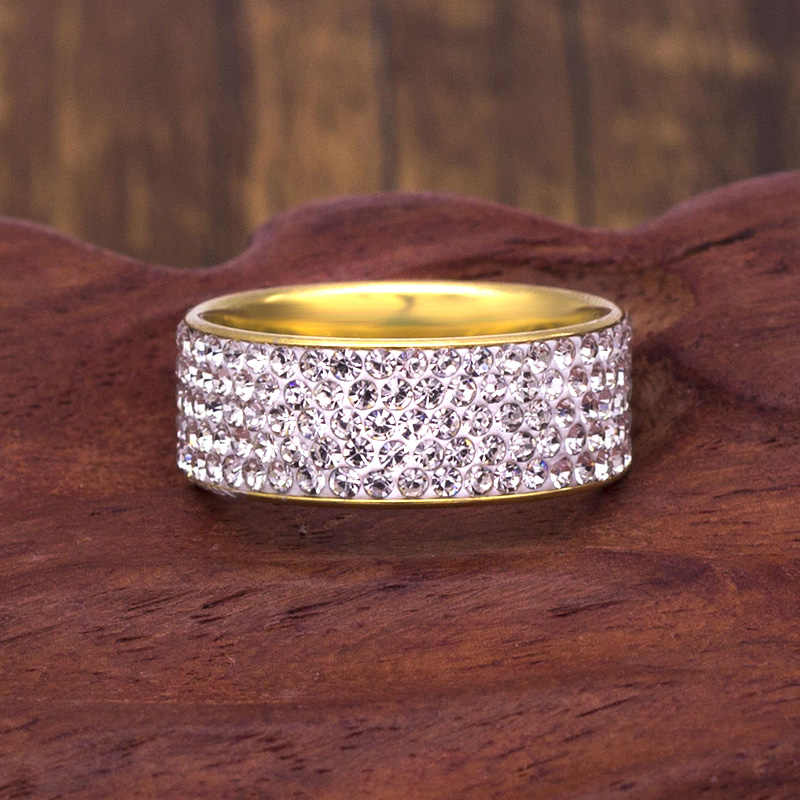 Stainless Steel 5 Rows Crystal Rings for Women 8mm Wedding bands Fashion Jewelry