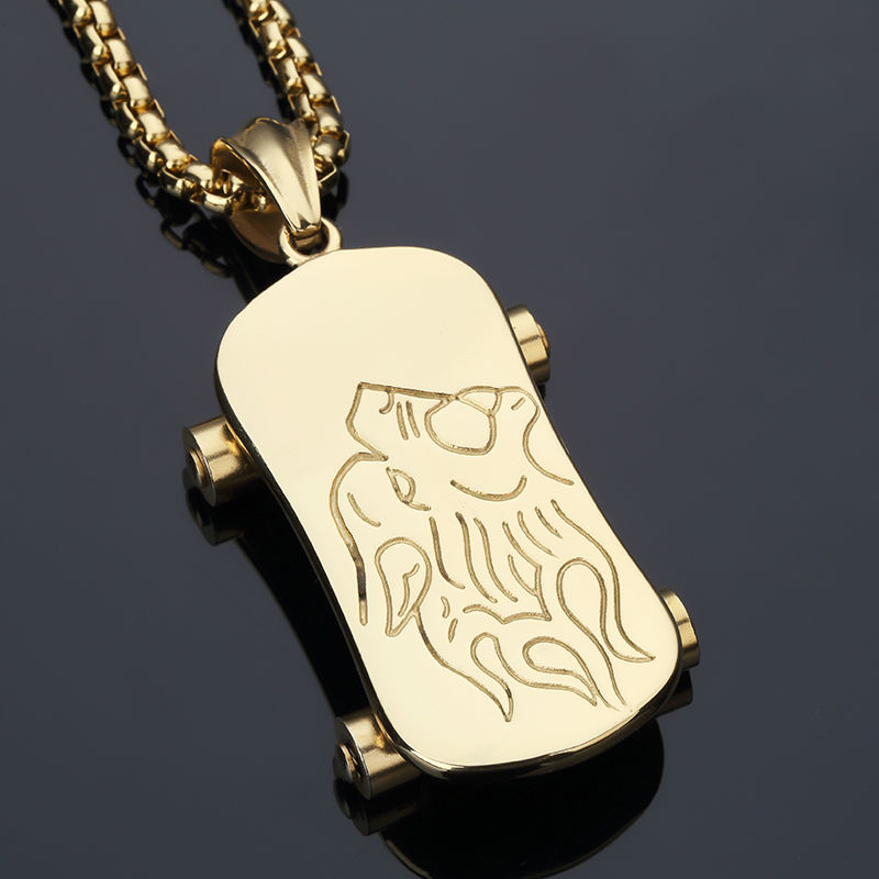 NYUK Pendants Necklaces Men S Vintage Cool Skateboard Pendant Stainless Steel Gold Plated Hip Hop Fashion