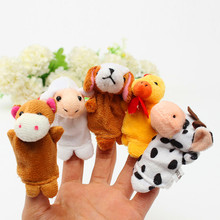 10pcs/lot Hand Puppet Finger Puppets Set Had A Farm Toy Mini Plush Baby Girls Educational Story Cloth Doll Family Toys For Child
