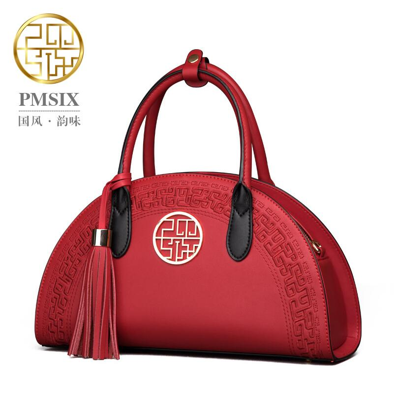 Ethnic Chinese red embroidery leather women bag brands fashion quality women handbags shoulder bag Dumplings bag
