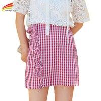 Asymmetrical High Waist Short Plaid Skirt Woman Red Black Color Cotton Skirts Womens Summer 2017 Summer