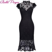 Belle Poque Victorian Dresses Women Summer Black Lace O Neck Sleeveless Retro Vintage 50s 60s Party