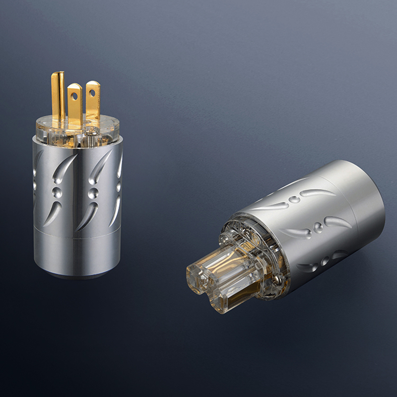Viborg X  1pair Aluminium Alloy 20mm Transparent pure copper 24K gold plated  US Power Plug and IEC Connector HiFi Audio pair viborg ve501g vf508g audio gold plated schuko power plug connector figure 8 iec plug connector