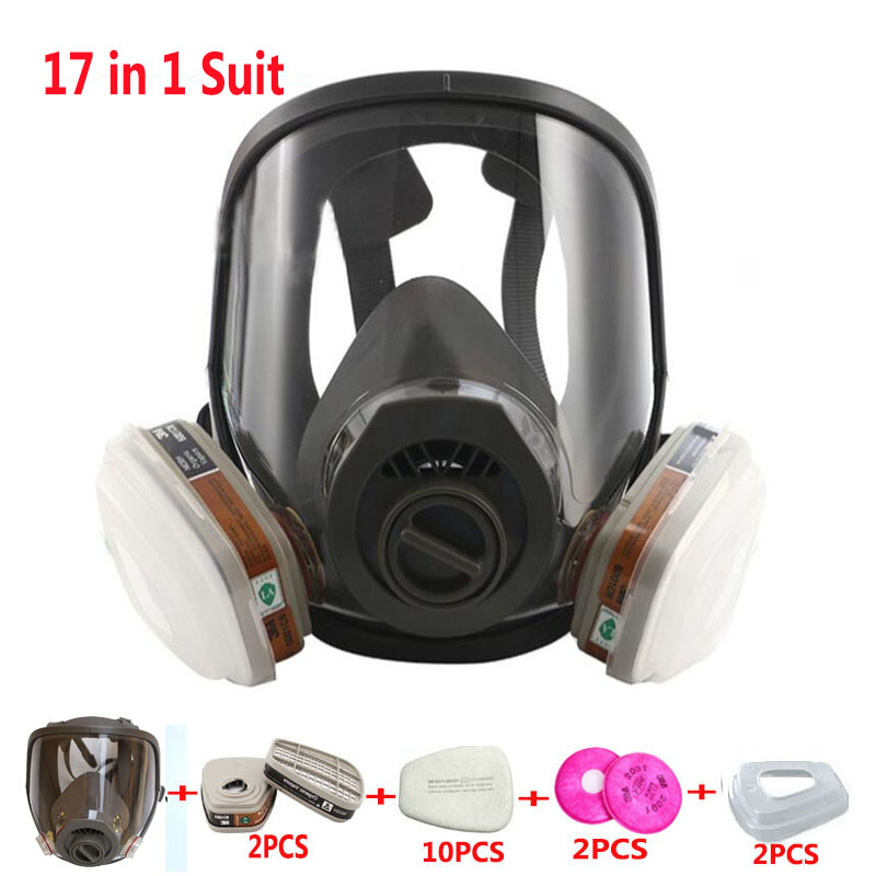 Double Use Satety Respirator Mask 17 In 1 Suit Painting Spray Gas Mask Same For 3M 6800 Industry Dust Gas Mask with 3M Filter