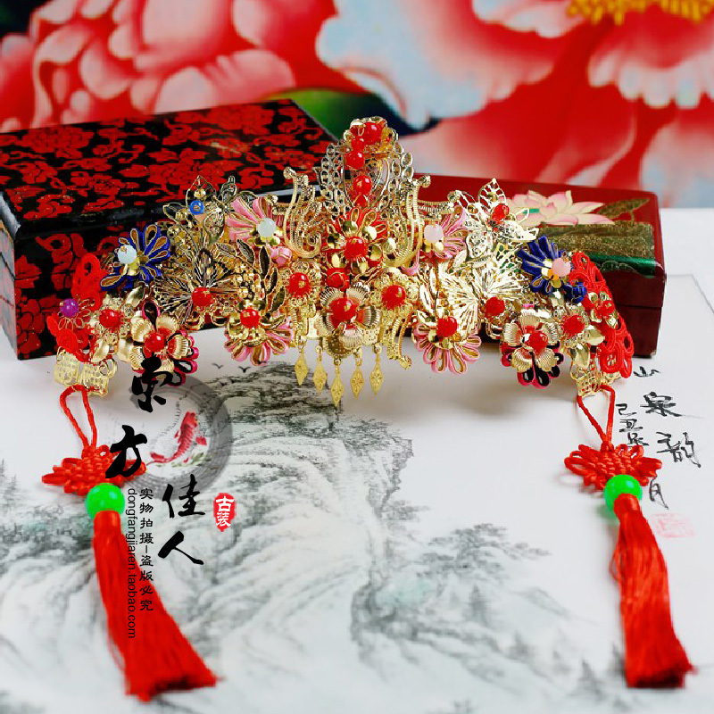 2 different designs hair tiaras forehead hair jewelry for wedding bride 00009 red gold bride wedding hair tiaras ancient chinese empress hair piece