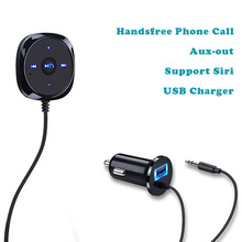Hot Bluetooth Car Kit Handsfree Speakerphone Aux MP3 Player with 5V 2.1A USB Charger for iPhone Mobile Smartphone