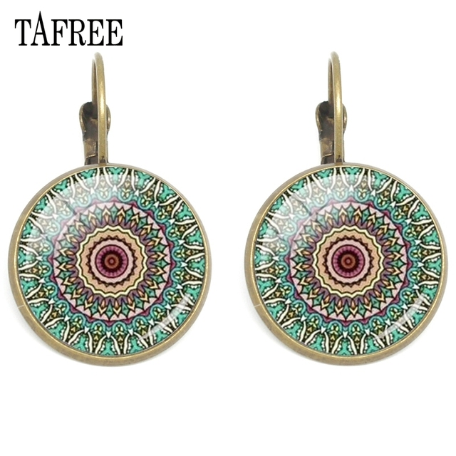 Tafree Shri Yantra Clips Earrings Mandala Buddhist Earring Sacred Geometry Jewelry Hn464