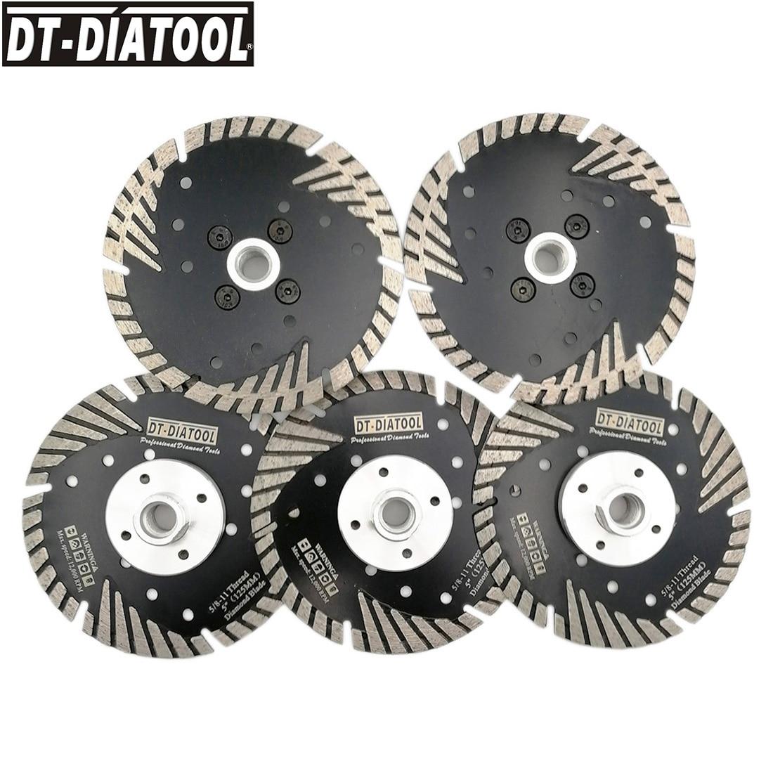 DT-DIATOOL 5pcs 125mm/5inch Professional Quality Hot Pressed Diamond Cutting Discs Turbo Blade For Concrete Brick 5/8-11 Thread