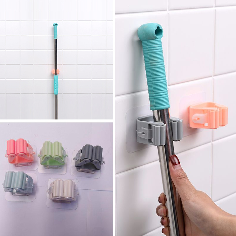 1Pc Wall Mounted Mop Holder Broom Holder Household Adhesive Storage Broom Hanger Mop Kitchen Bathroom Organizer