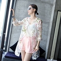 Loose Casual Thin Trench  Transparent Sunscreen Cardigan Summer Autumn Women Plus size Show Organza Outdoor Clothes