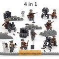 4 в 1 Второй Мировой Войны Немецкий Блицкриг Legoe Ударной Армии Пистолет Оружие SWAT Военный Солдат Строительные Блоки Игрушка Мальчика
