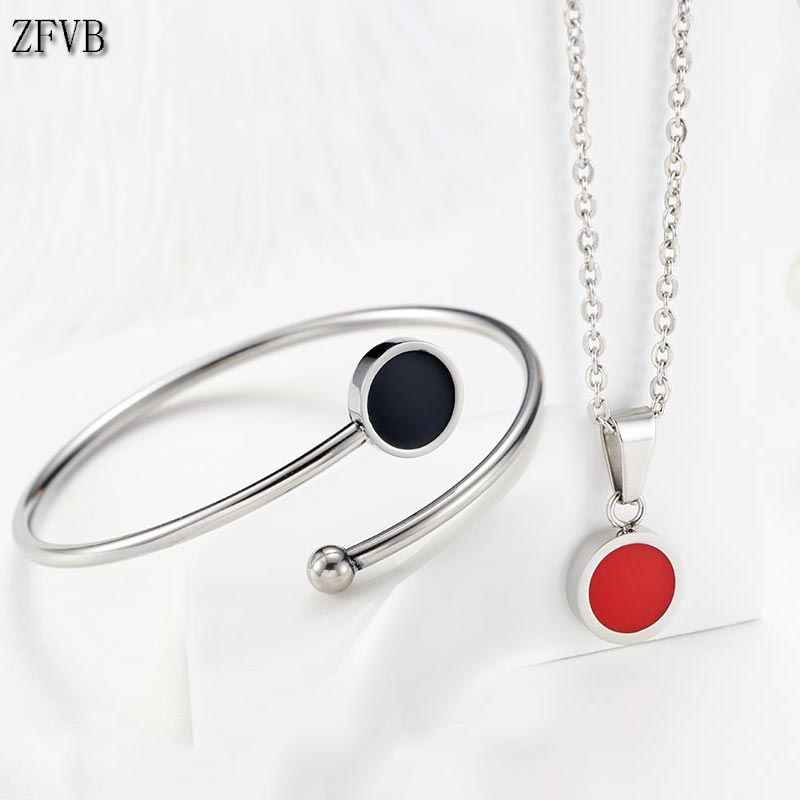 ZFVB Trendy Jewelry Sets For Women Necklaces Stainless Steel Red Black Bracelet Women Clavicle chain Lover's Engagement Jewelry