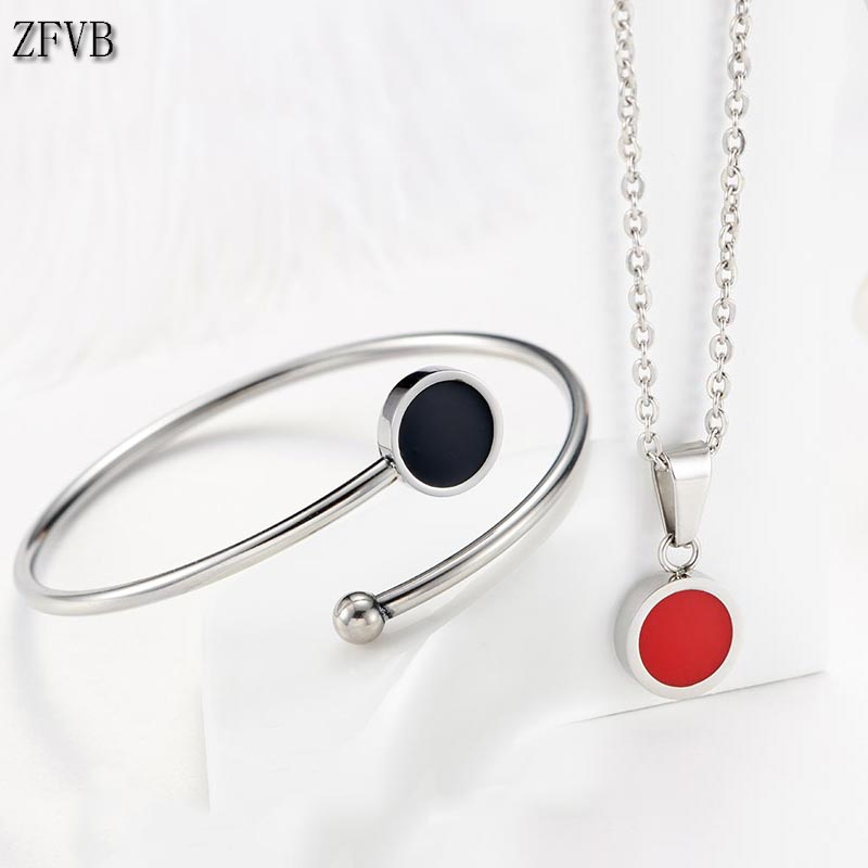 ZFVB Trendy Jewelry Sets For Women Necklaces Stainless Steel Red Black Bracelet Women Clavicle chain Lover 39 s Engagement Jewelry in Jewelry Sets from Jewelry amp Accessories