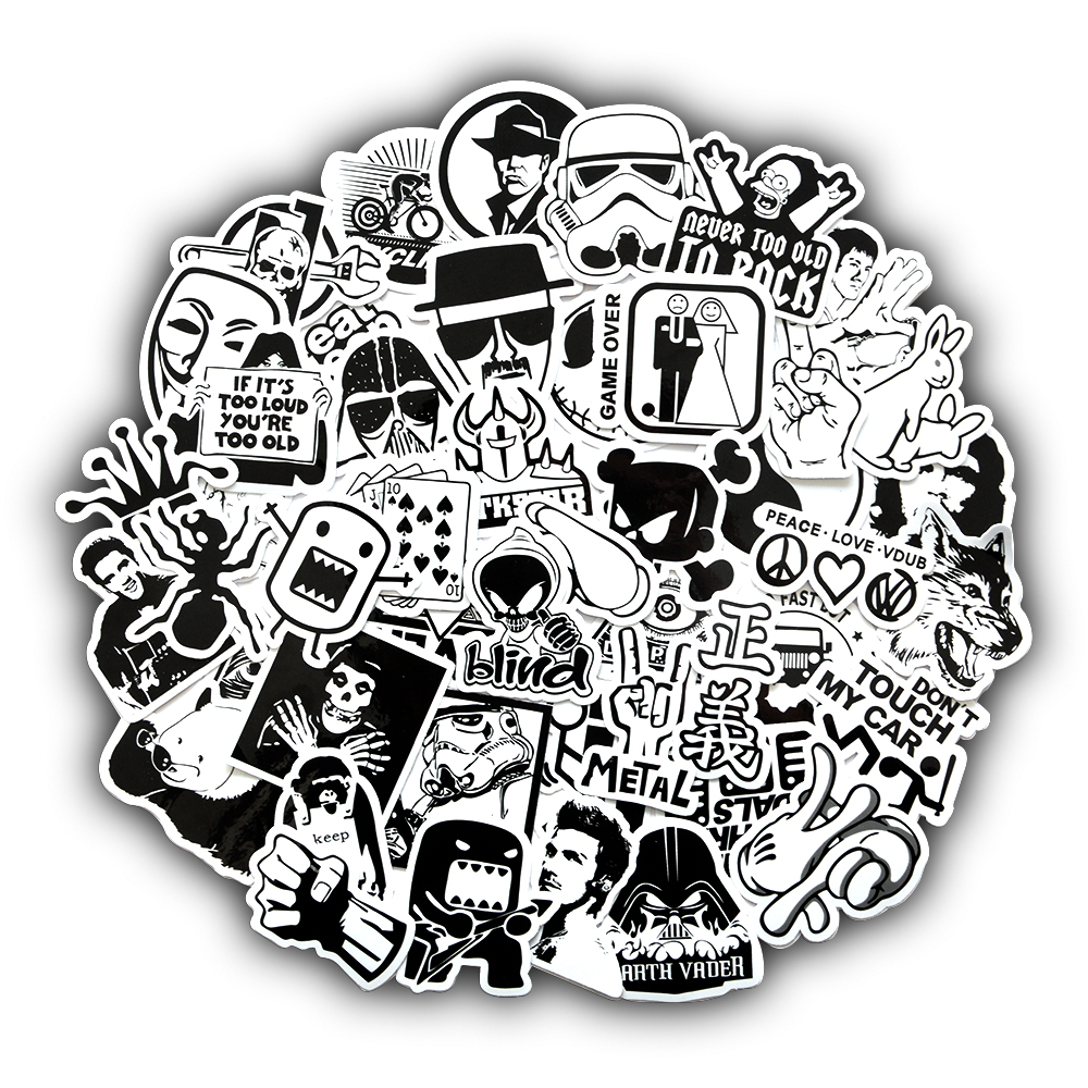 50 Pcs Random Black And White Styles Stickers For Laptop Suitcase Car Bike Motorcycle Cool Punk JDM Kids Sticker Bomb Decals