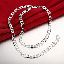 2018 new 925 sterling silver jewelry 6mm wide cool Figaro Chains necklace for women men's Classic fashion choker necklace 20inch