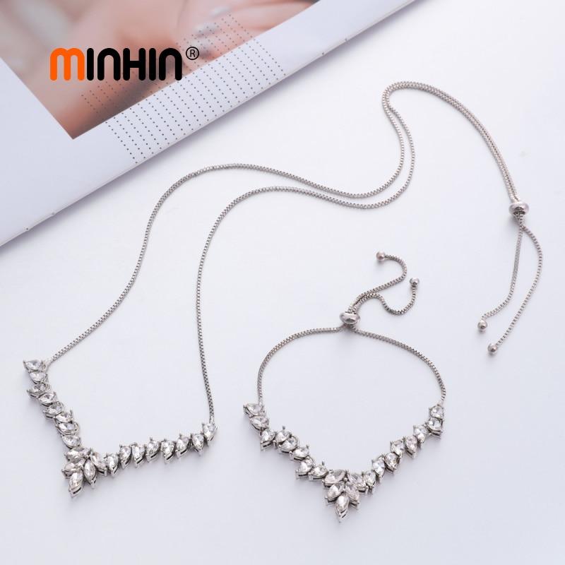 MINHIN Fashion Bridal Jewelry Sets For Women Zircon Charm Bracelet Necklace Sets Adjustable Chocker Necklace Wedding Sets
